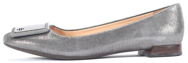 TORY BURCH Gray Metallic Suede Heel Flats
