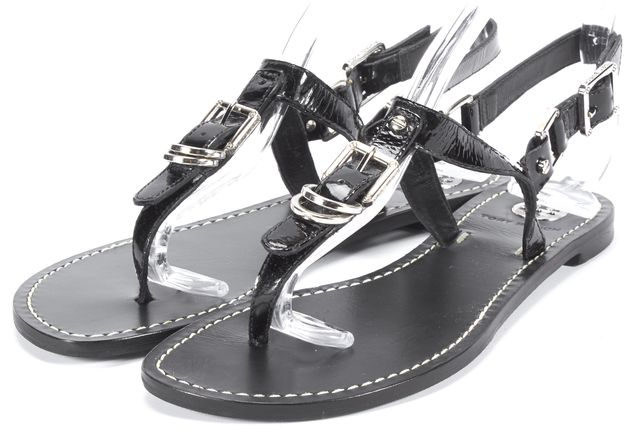 TORY BURCH Black T-Strap Leather Sandals