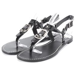 TORY BURCH Black T-Strap Leather Sandals Size 6.5