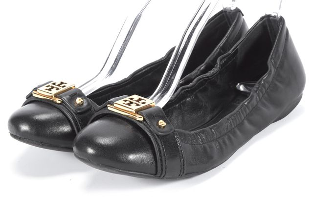 TORY BURCH Black Leather Gold Embellished Ballerina Flats