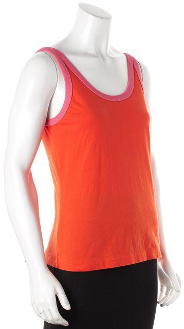 TORY BURCH Orange Pink Trim Cotton Sleeveless Tank Top