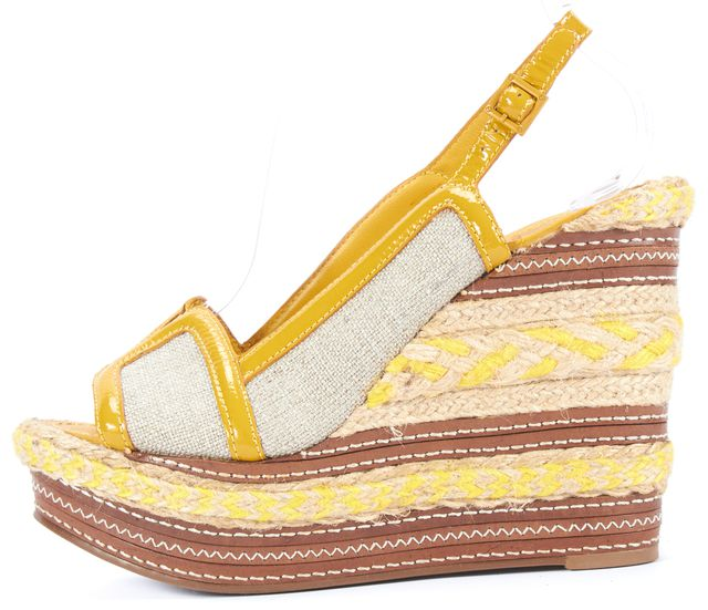 TORY BURCH Yellow Brown White Beige Espadrille Wedges