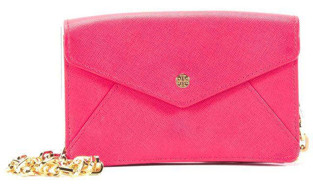 TORY BURCH Red Saffiano Leather Gold-Tone Chain Strap Mini Crossbody Bag