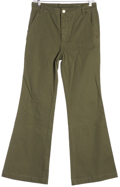 TORY BURCH Olive Green Cargo High Rise Flair Trouser Pants