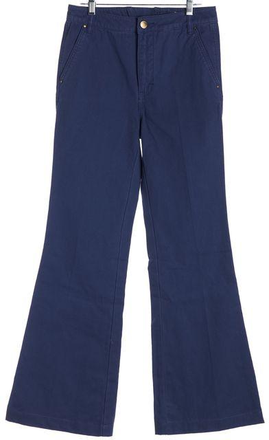 TORY BURCH Navy Blue Cargo High Rise Flair Trouser Pants