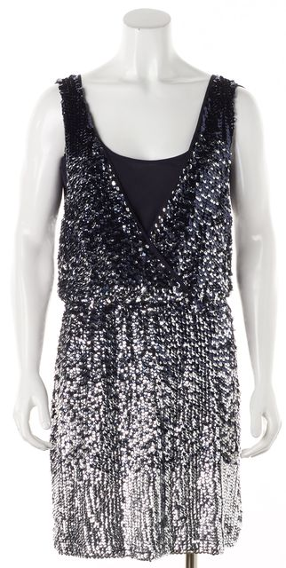 TORY BURCH Navy Embellished Sequined Cocktail Dress