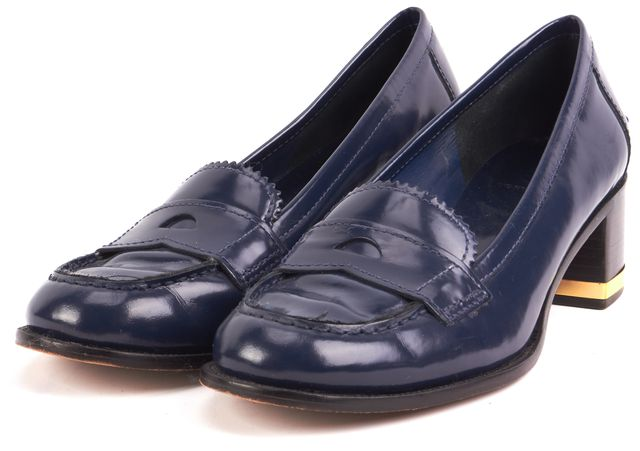 TORY BURCH Blue Leather Block Heel Loafers ...