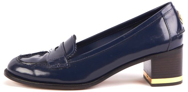 TORY BURCH Blue Leather Block Heel Loafers