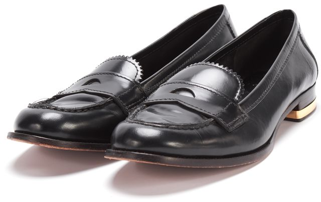 TORY BURCH Black Leather Block Heel Loafers