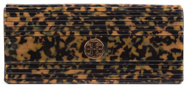TORY BURCH Brown Tortoise Pleated Acrylic Gold-Tone Logo Clutch