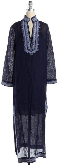 TORY BURCH Navy Blue Gold Embroidered Linen Emilia Caftan Maxi Dress