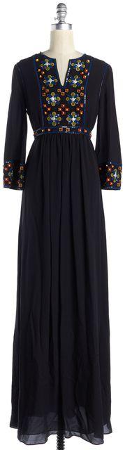 TORY BURCH Black Floral Embellished Silk Jordana Caftan Maxi Dress