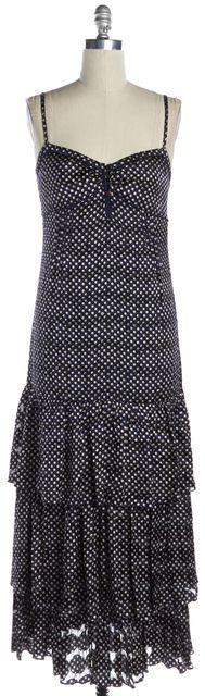TORY BURCH Navy Blue Polka Dot Ruffed Spaghetti Strap Maxi Dress