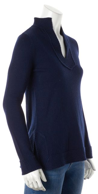 TORY BURCH Blue Cashmere V-Neck Knitted Trim Sweater