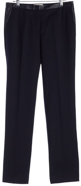 TORY BURCH Blue Wool Leather Trim Trousers Pants