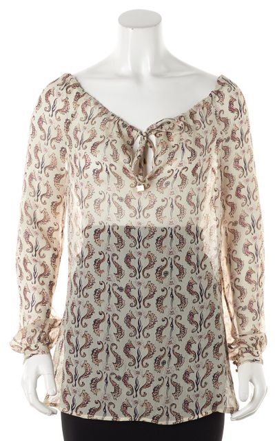 TORY BURCH Beige Abstract Tie String Collar Blouse Top