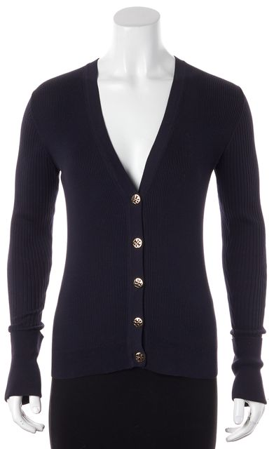 TORY BURCH Navy Blue Ripped Knit Cardigan