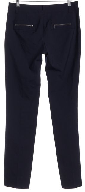 TORY BURCH Navy Blue Zipper Pockets Trousers