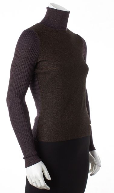 TORY BURCH Purple Orange Wool Sparkle Detailed Turtleneck Sweater