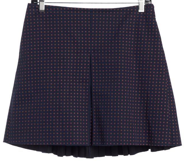 TORY BURCH Blue Abstract Pleated Skirt