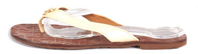 TORY BURCH White Leather Slip-on Flip Flops