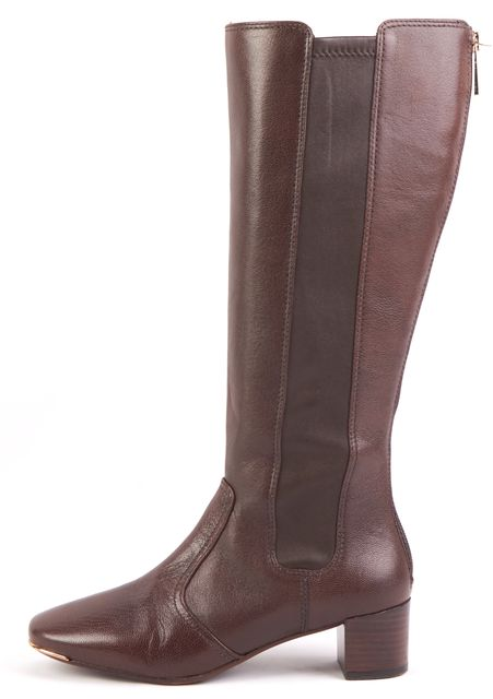TORY BURCH Brown Leather Gold-Tone Outline Toe Box Knee-High Boots