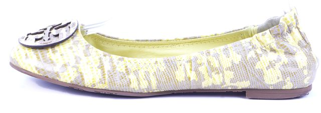 TORY BURCH Yellow Camo Logo Application Elastic Back Leather Flats