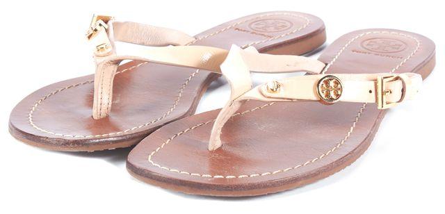 TORY BURCH Beige Leather Flip Flop Sandals