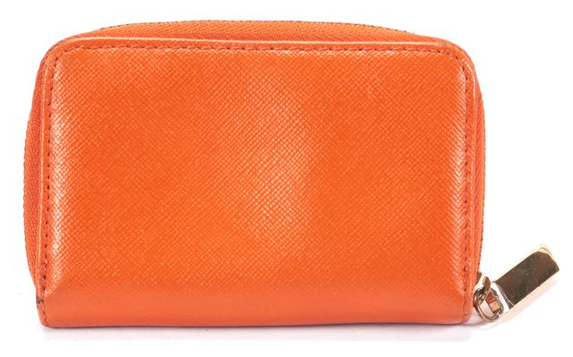 TORY BURCH Orange Leather Coin Purse Card Case