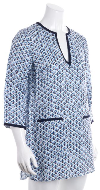 TORY BURCH Blue Palm Tree Embellished Neckline Graphic Linen Tunic Dress