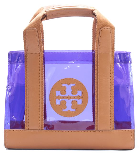 TORY BURCH Transparent Purple PVC Leather Trim Jesse Tory Tote