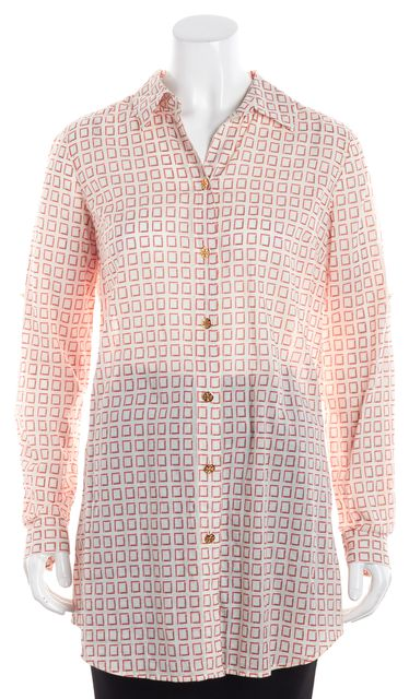 TORY BURCH Multi-color Geometric Button Down Shirt Top
