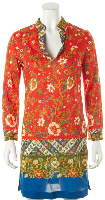 TORY BURCH Red Multi-color Floral Sheer long Sleeve Shift Dress