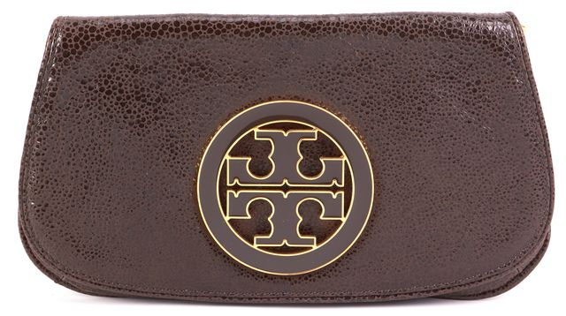 TORY BURCH Brown Leather Clutch
