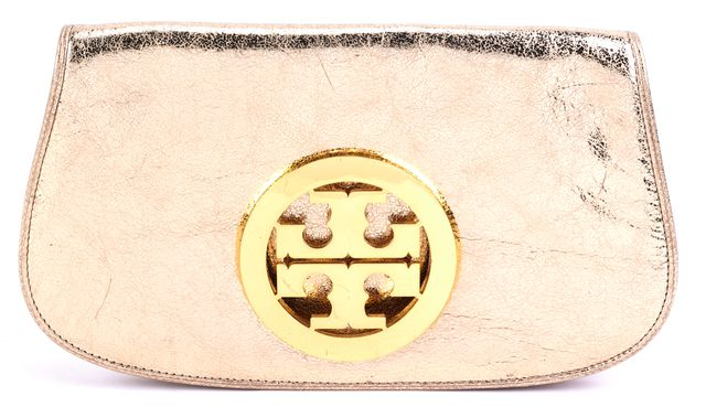 TORY BURCH Metallic Gold Leather Clutch