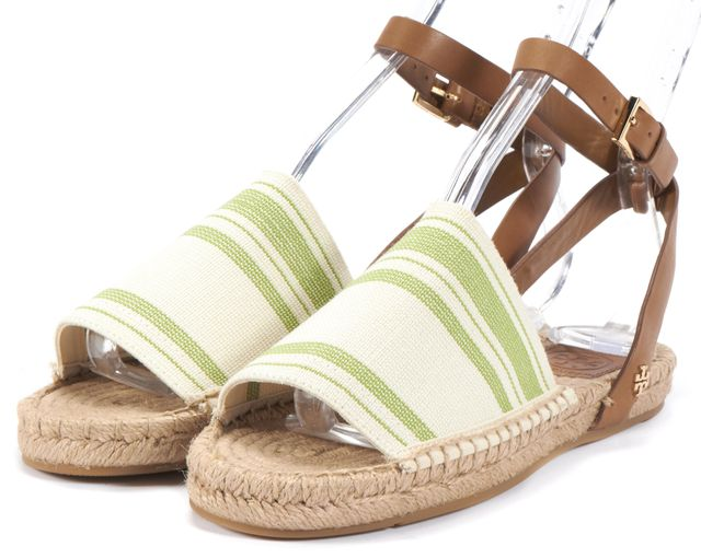 TORY BURCH Olive Green White Ivory Striped Espadrille Sandals