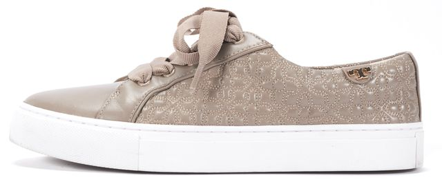 TORY BURCH Beige Leather Lace Up Sneakers