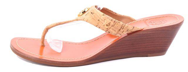 TORY BURCH Beige Gold Tone Logo Embellished Cork Slide On Wedges Sandals