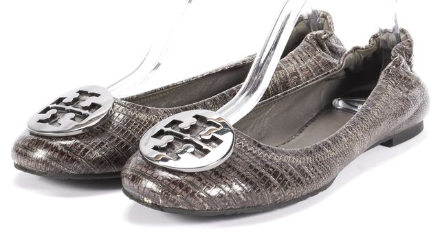 TORY BURCH Gray Leather Flats