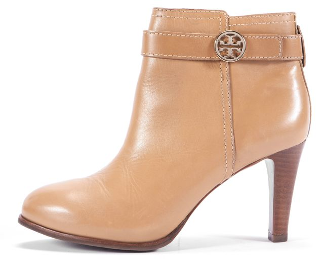 TORY BURCH Tan Leather High Heel Ankle Boots