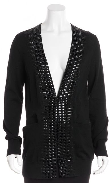 TORY BURCH Black Long Sleeve Sequin Bead Embellished Open Wool Cardigan