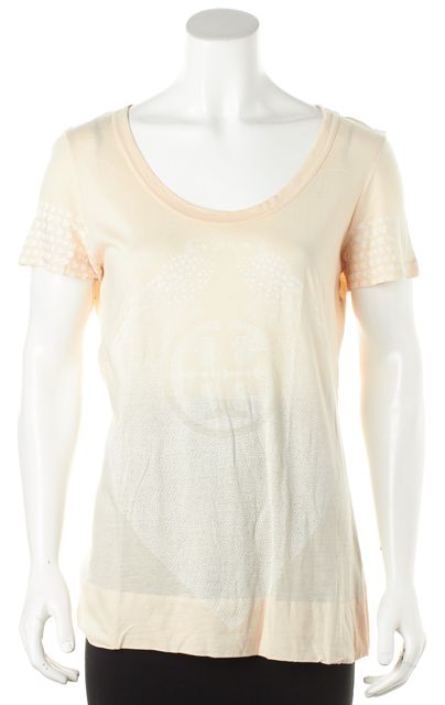 TORY BURCH Beige Scoop Neck Heart Logo Graphic T-Shirt