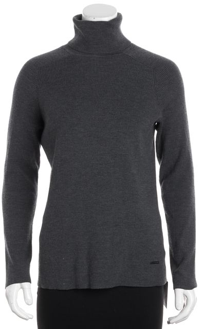 TORY BURCH Gray Wool Turtleneck Sweater