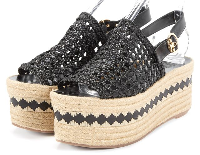 TORY BURCH Black Dandy Woven Espadrille Platform Sandals