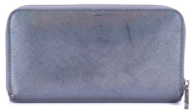 TORY BURCH Iridescent Gray Chrome Tone Logo Leather Zip Wallet