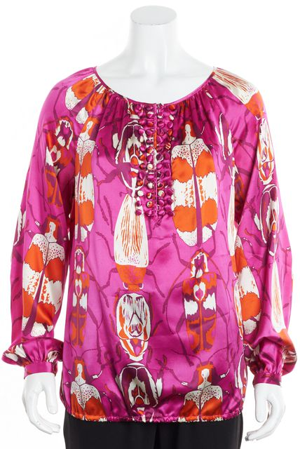 TORY BURCH Hot Pink Orange Abstract Silk Ruched Button Detailed Blouse