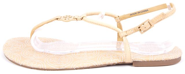 TORY BURCH Ivory Leather Branded Detail Slingback Sandals