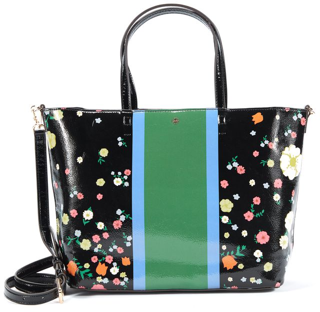 TORY BURCH Black Multi Patent Leather Ditzy Floral Print Vilette Small Tote Bag