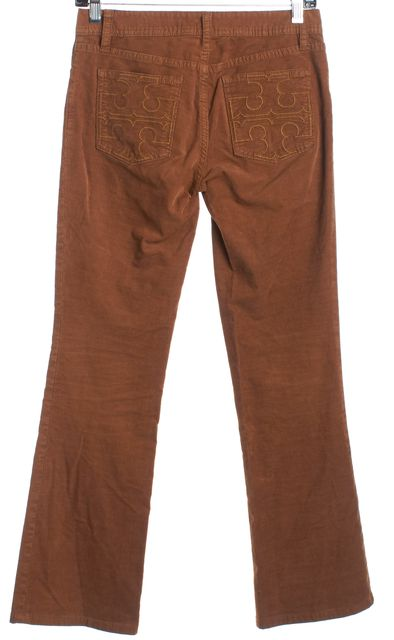 TORY BURCH Caramel Brown Classic Tory Flare Corduroy Pants