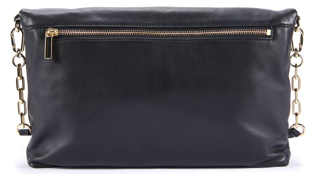 TORY BURCH Black Leather Logo Embossed Gold-Tone Chain Strap Crossbody Bag